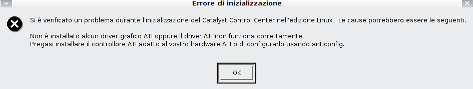 Errore all'avvio del Catalyst Control Center
