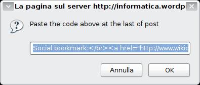 Finestra con il codice da copiare