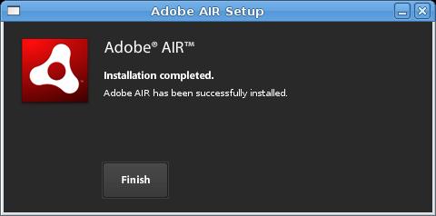 Schermata Adobe AIR Setup su Linux