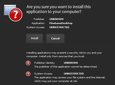 Finetune desktop, installazione